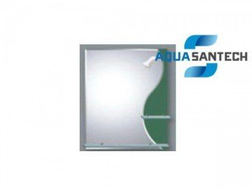 Зеркало LEGEND A177 зелёное подвесное с светильником, 2 полки