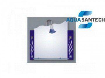 Зеркало синие, цветы A182 подвесное с светильником, 1 полка