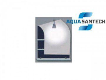 Зеркало LEGEND A223 чёрное подвесное для ванной, светильник, полки