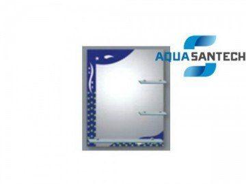 Зеркало синие A266 с узорами подвесное, светильник, три полки