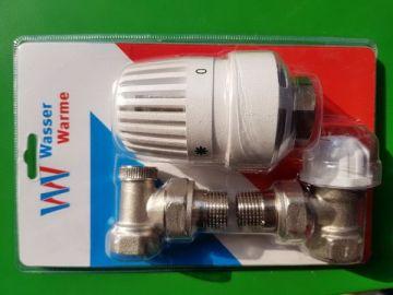 Комплект кранов радиаторный с термоголовкой Wasser Warme