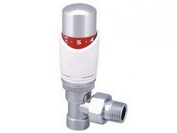 Кран для радиаторов угловой с термоголовкой хром - Wasser Warme
