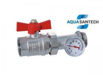 Кран прямой с американкой и термометром - 1 дюйм - Wasser Warme