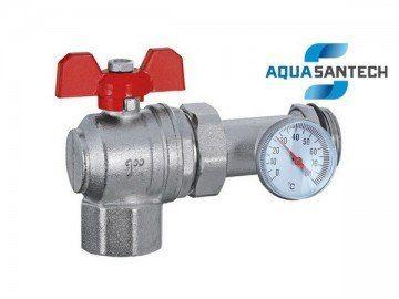 Шаровой кран угловой с американкой и термометром - 1 дюйм - Wasser Warme