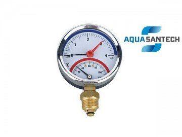 Термоманометр вертикальный (торцевой) - Wasser Warme