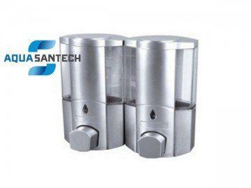 Дозатор для жидкого мыла двойной - хром прозрачный