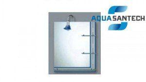 Зеркало A120 подвесное для ванной синие полоски, светильник, полки