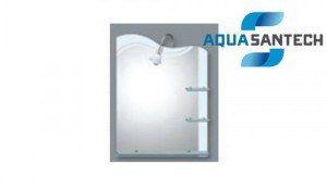 Зеркало A125 подвесное для ванной комнаты с полками и подсветкой белое