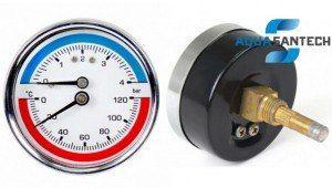 Термоманометр горизонтальный - Wasser Warme