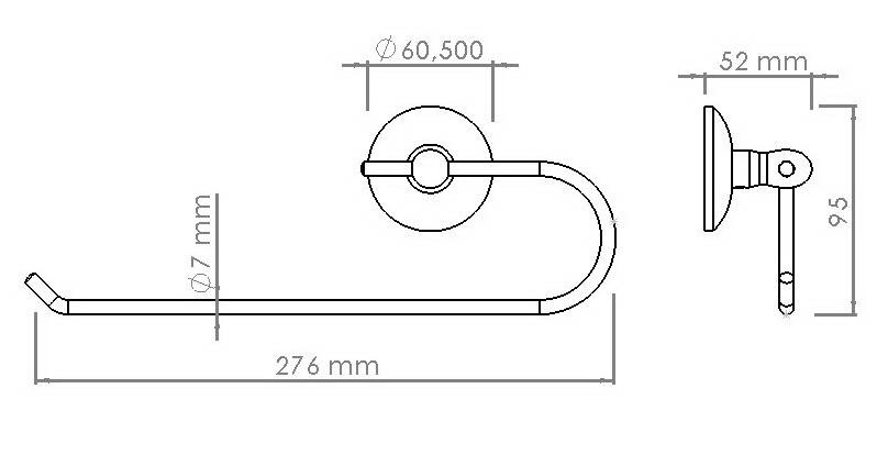Схема размеров держателя для бумажных полотенец скоба хром
