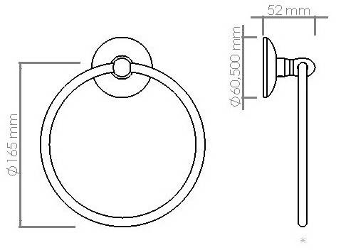 Схема размеров держателя для полотенец в ванную кольцо VIYA