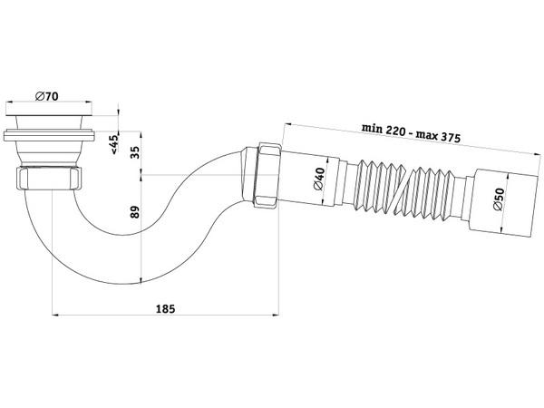 Схема размеров сифона для душевого поддона с гибкой трубкой АНИ Пласт