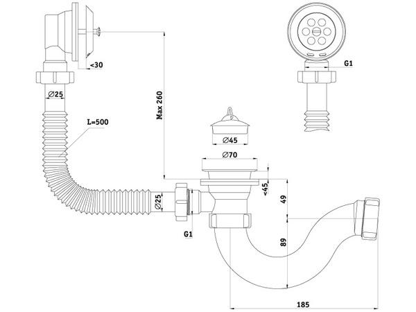 Размеры сифона для ванны с выпуском и переливом АНИ Пласт