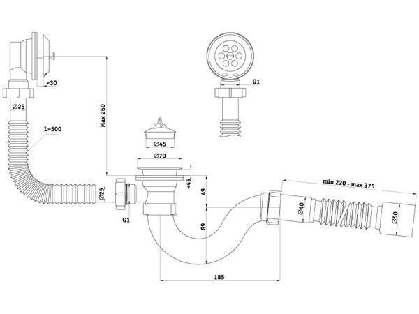 Размеры сифона для ванны с выпуском и переливом c гибкой трубой АНИ Пласт