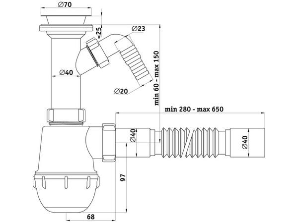 Размеры сифона для мойки с подключением стиральной машины АНИ Пласт
