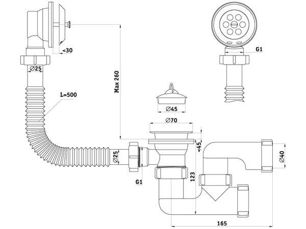 Размеры сифона для ванны с выпуском и переливом регулируемый АНИ Пласт