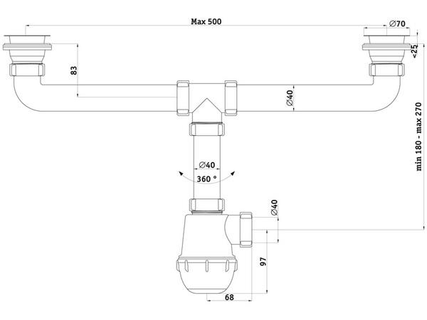 Размеры сифона для двойной мойки АНИ Пласт