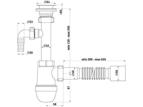 Схема размеров сифона для умывальника АНИ Пласт C1310