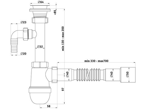 Схема размеров сифона для умывальника АНИ Пласт C1315