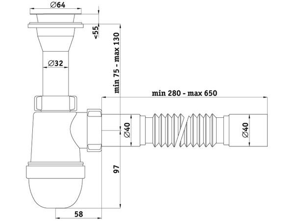 Схема размеров сифона для умывальника АНИ Пласт C2005
