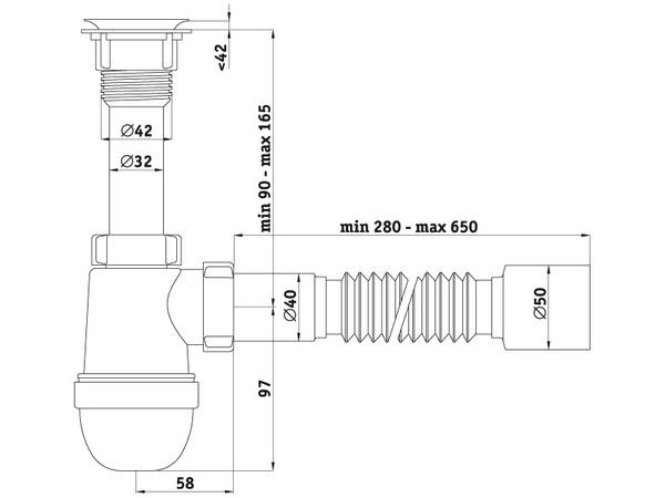 Схема размеров сифона для умывальника АНИ Пласт C5010