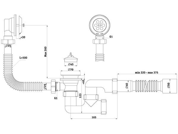 Размеры сифона с переливом для ванны АНИ Пласт