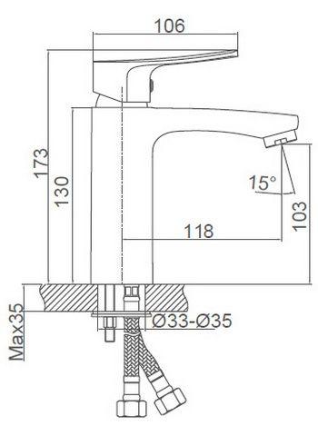 Схема размеров смесителя для умывальника с одной ручкой GOLSEN FG-052601