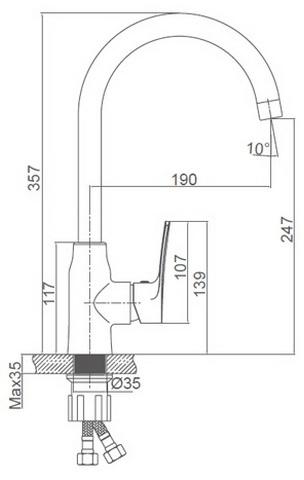 Схема размеров смесителя для кухни FRAUF GRAND GOLSEN FG-052611