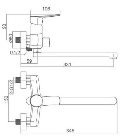 Схема размеров смесителя для ванной с душем и длинным изливом FRAF GRAND GOLSEN FG-052615