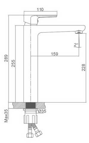 Схема размеров смесителя для умывальника высокого HERZBLLATT FG-052901A