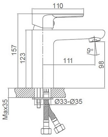 Схема размеров смесителя для умывальника FRAUF GRAND HERZBLLATT FG-052901