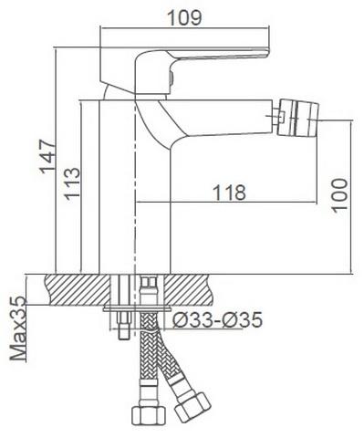 Схема размеров смесителя для биде FRAUF GRAND HERZBLLATT FG-052902