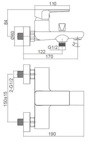 Схема размеров смесителя для ванной FRAUF GRAND HERZBLLATT FG-052909
