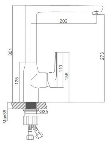 Схема размеров смесителя для кухни FRAUF GRAND HERZBLLATT FG-052911