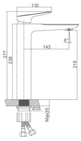 Схема размеров смесителя для умывальника высокого FRAUF GRAND SCHATZ FG-053301A