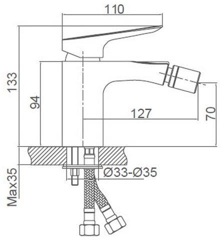 Схема размеров смесителя для биде FRAUF GRAND SCHATZ FG-053302