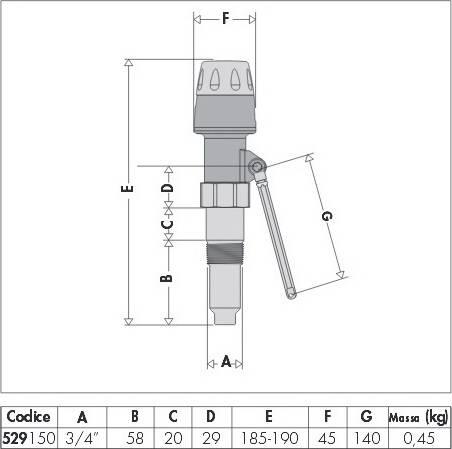 Размеры регулятора тяги для котлов CALEFFI