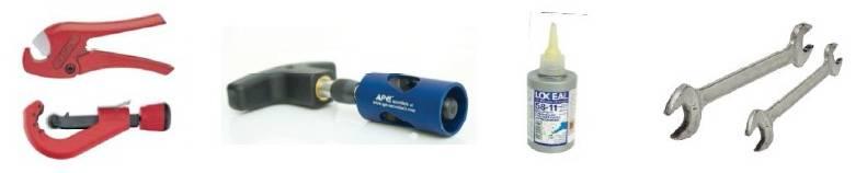 Изображение необходимых инструментов и компонентов для монтажа фитингов компрессионных