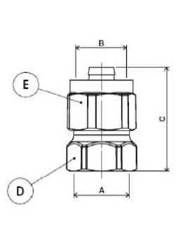 Схема размеров муфты компрессионной с внутренней резьбой APE