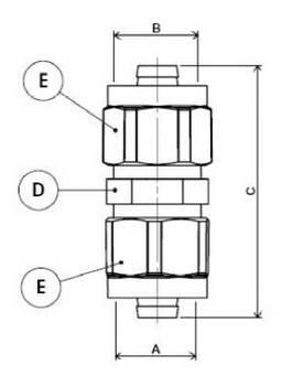 Изображение схемы размеров муфты промежуточной компрессионной APE