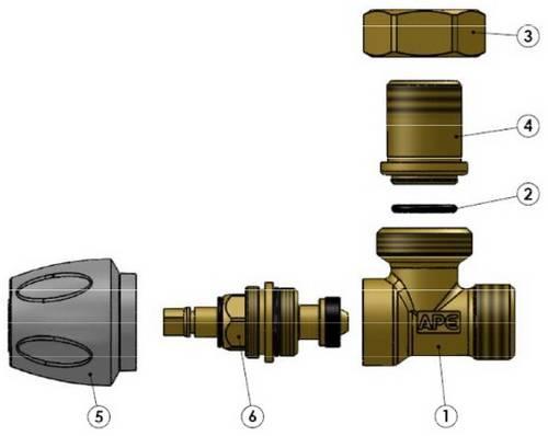Схема компонентов в разборе крана радиаторного APE углового верхнего