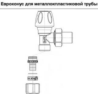 Евроконус для металлопластиковой трубы на кран радиаторный APE угловой верхний