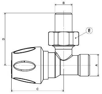Схема размеров углового крана для радиатора отоплений APE верхнего углового
