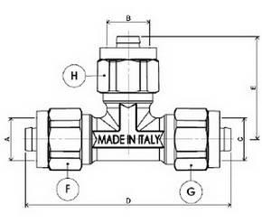 Схема размеров тройника равно промежуточного компрессионного APE