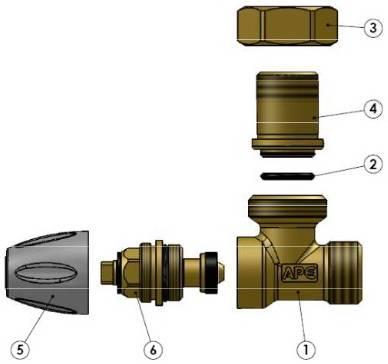 Схема компонентов в разборе крана радиаторного углового APE нижнего