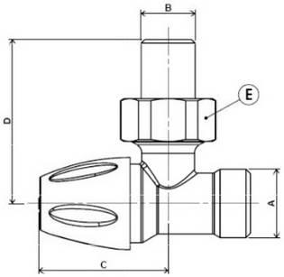 Схема размеров крана углового для радиатора APE нижнего