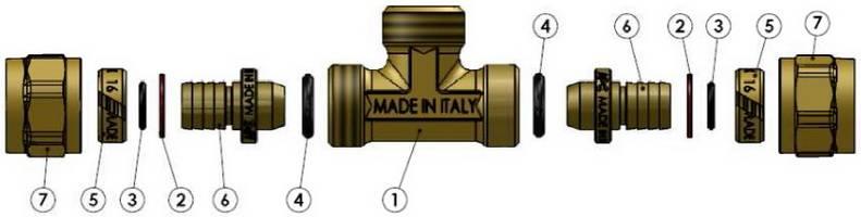 Компоненты в разборе тройника компрессионного с наружной резьбой APE