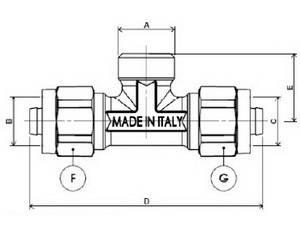 Схема размеров тройника компрессионного с наружной резьбой APE