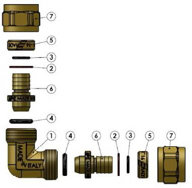 Схема в разборе компонентов угла компрессионного промежуточного APE