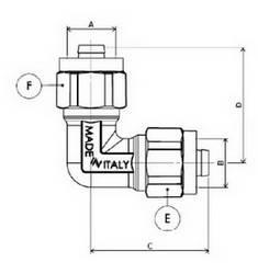 Схема размеров угла компрессионного промежуточного APE